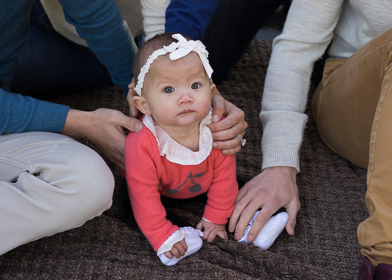 baby on blanket with family - San Ramon portraits