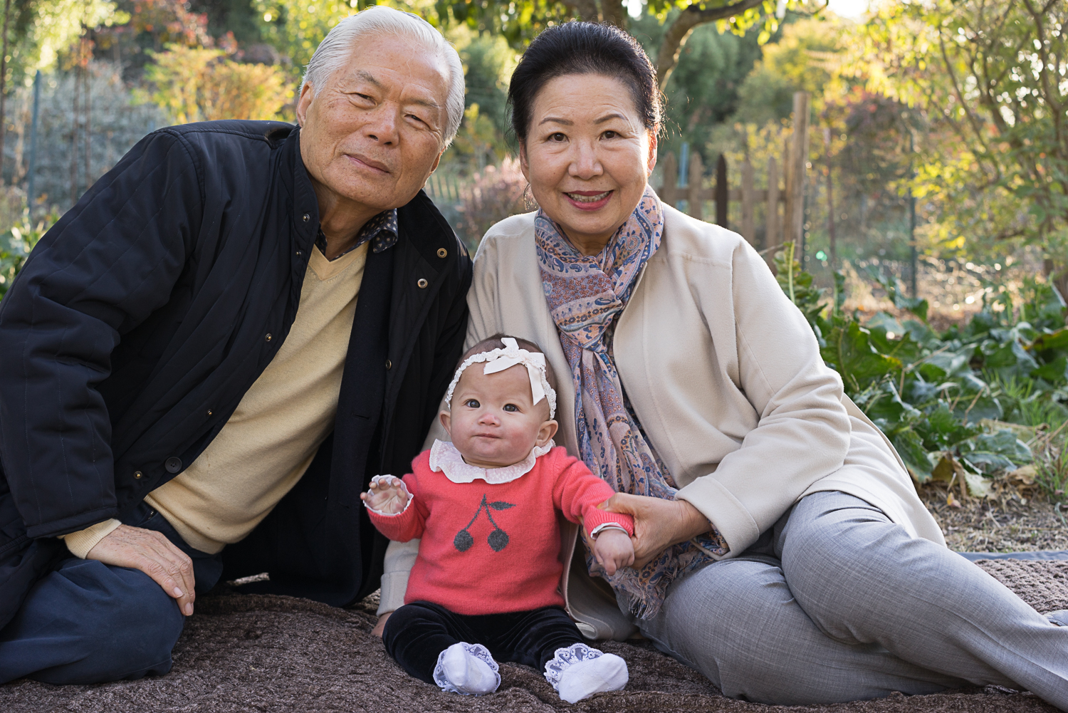 grandparents with baby - SF East Bay area family portriats