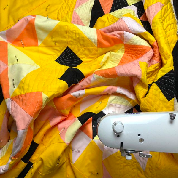 Citrus Suncake under the sewing machine