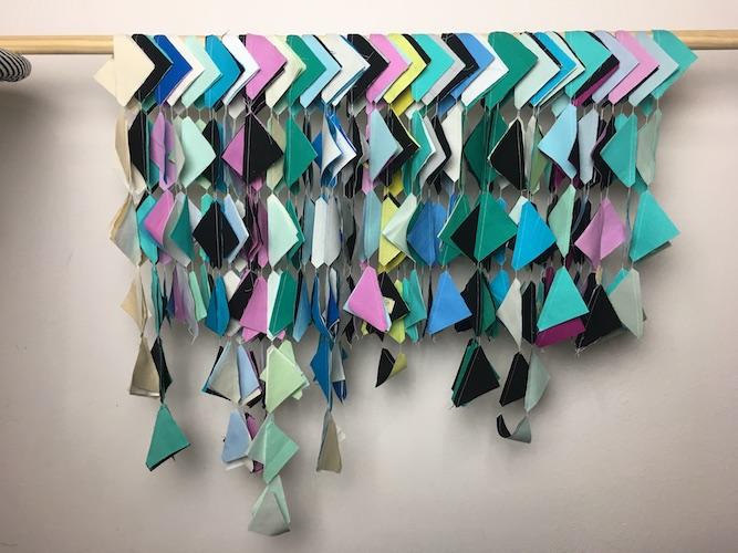 Chain-pieced half-square triangles