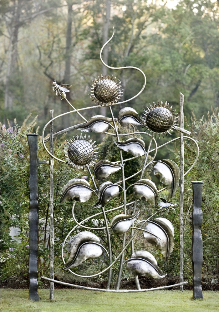 Sunflower Gate, Forged and fabricated stainless steel, 2011