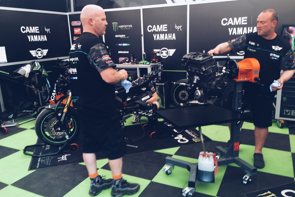 Four time TT winners Team Traction Control tearing down one of Hutchinson's motors.