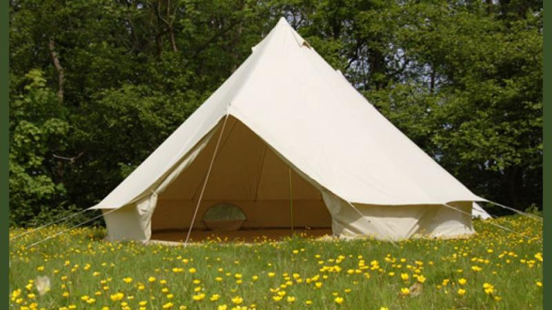 "This is what a five metre ""Bell Tent"" looks like, flowers not guaranteed."