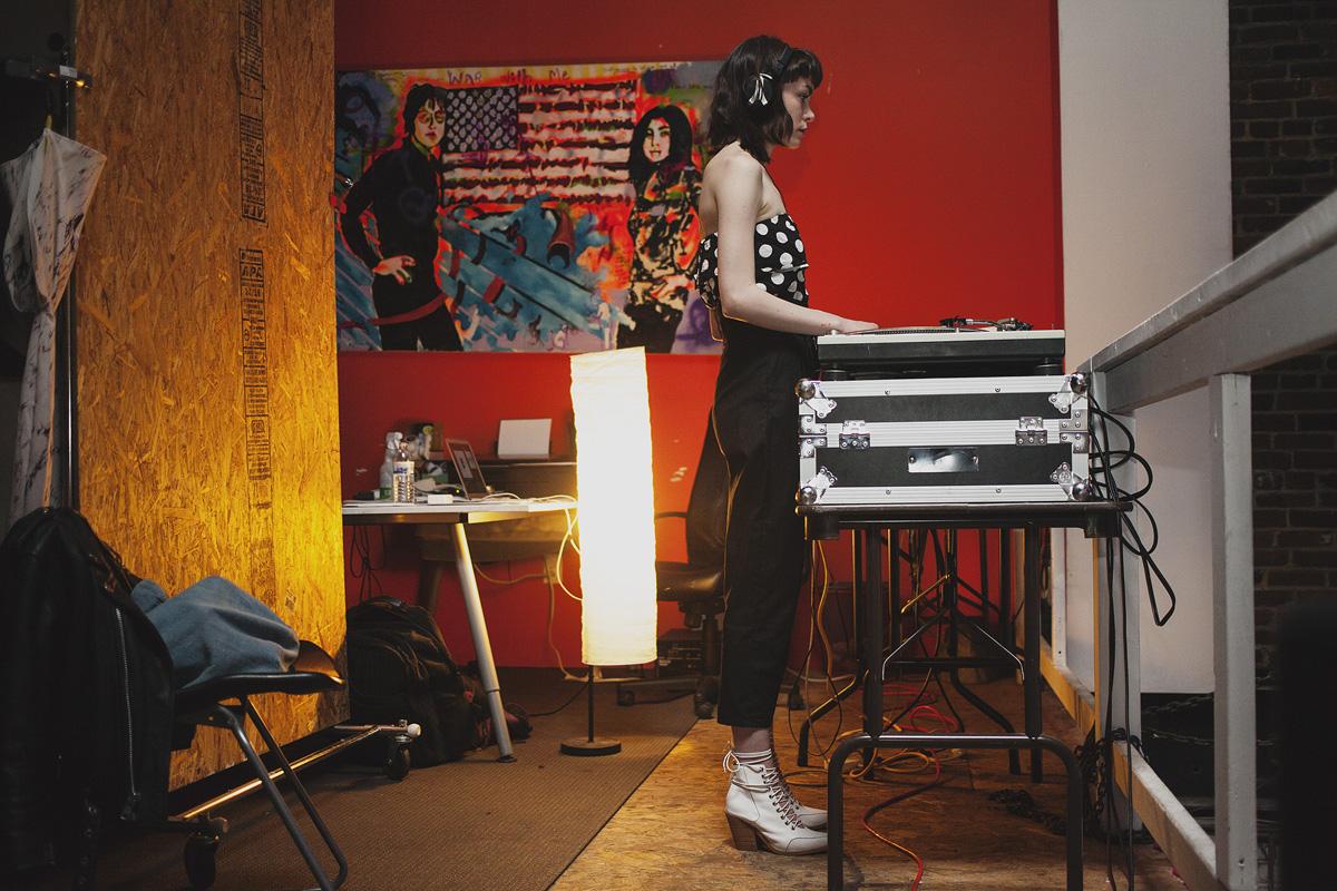 DJ Diamond girl provided music for the evening. April 18. 2015. The Dreaming Building. Chris Fascenelli/Rad-Girls.com.
