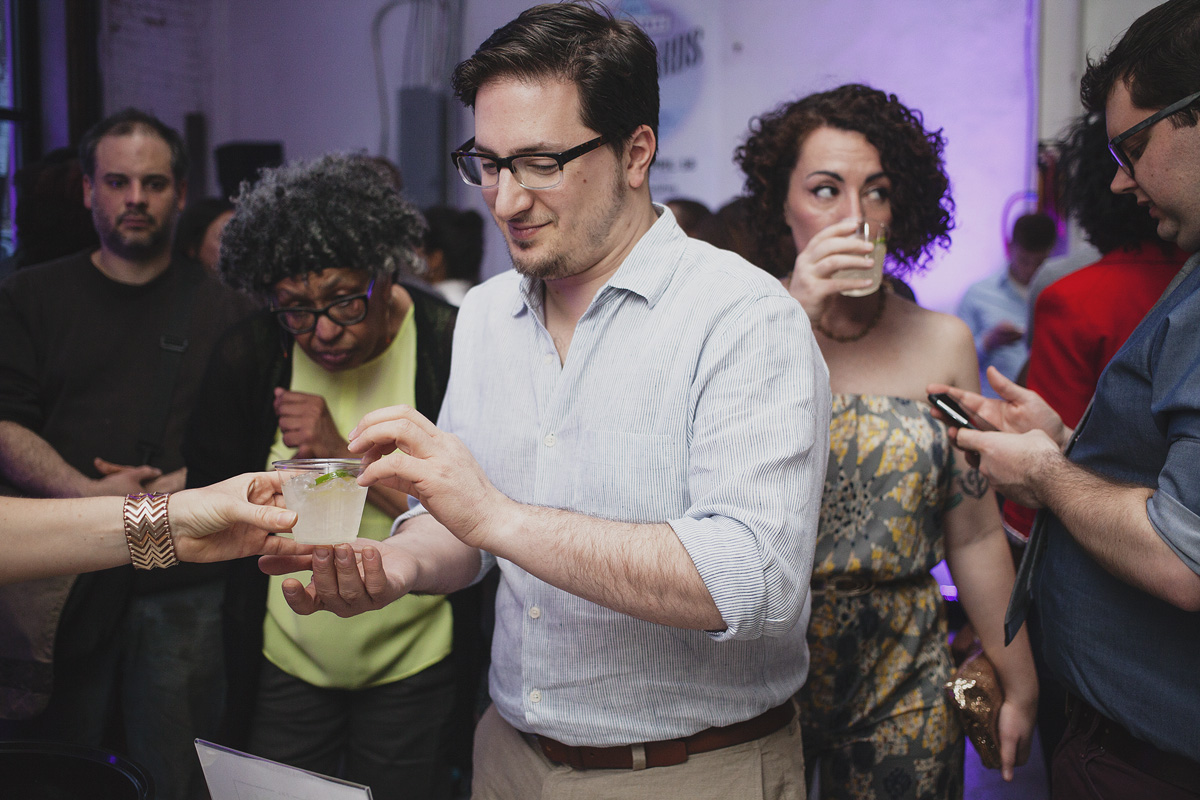 Attendees enjoy libations from Bluecoat Gin and Sixpoint Brewery. The Rad Awards. April 18. 2015. The Dreaming Building. Chris Fascenelli/Rad-Girls.com.