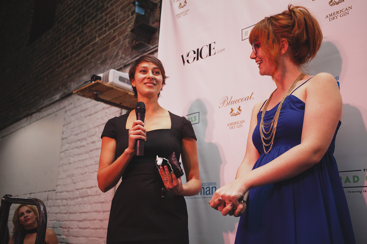Beah Burger-Lenehan, VP of Product, at Ticketleap, accepts her Rad Award for Technologist of The Year. Corinne Warnshuis presented her award. April 18. 2015. The Dreaming Building. Chris Fascenelli/Rad-Girls.com.