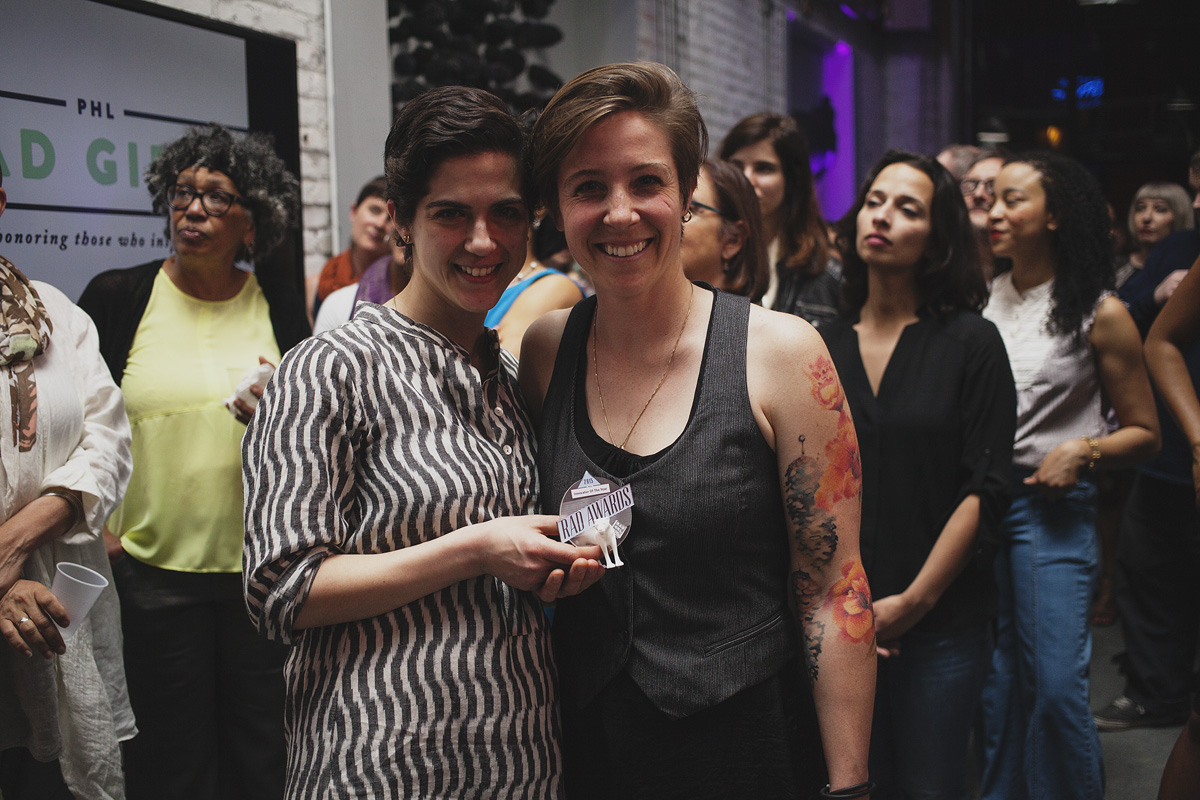 Elyse DiMauro and April Nett of Menagerie Coffee hold their award for Entrepreneur of The Year at The Rad Awards. April 18. 2015. The Dreaming Building. Chris Fascenelli/Rad-Girls.com.