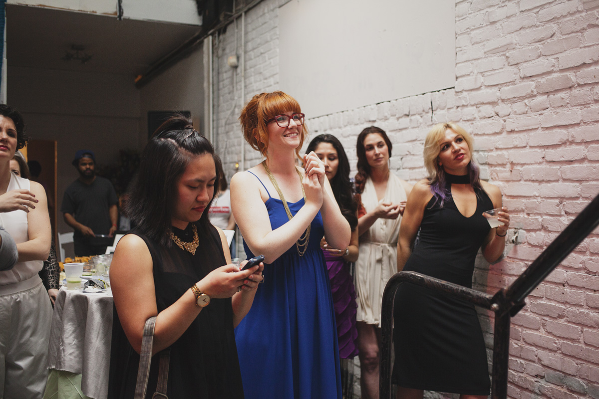 Corinne Warnshuis, Executive Director of Girl Develop It, waits to go onstage at The Rad Awards. April 18th, 2015. The Dreaming Building. Chris Fascenelli/Rad-Girls.com