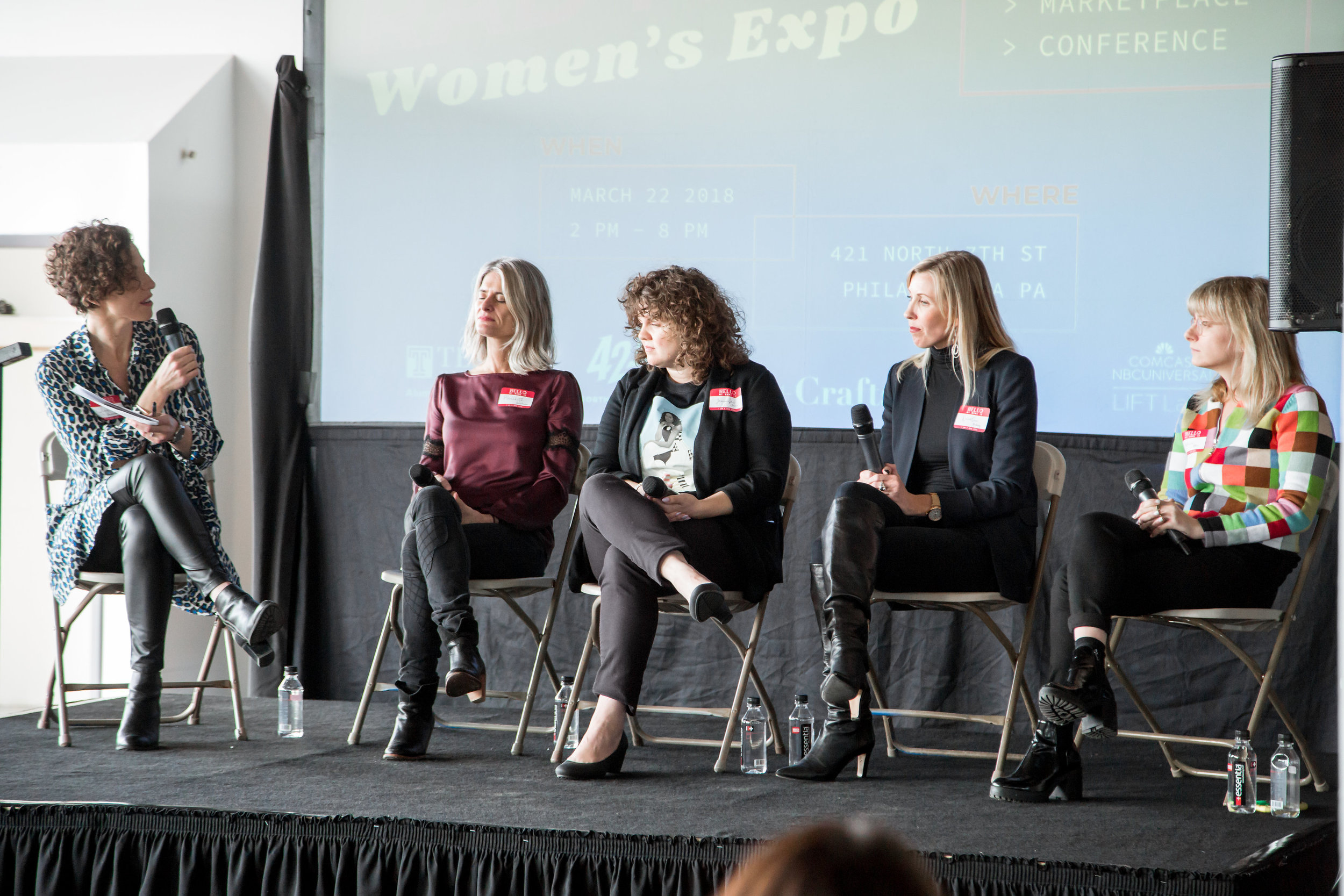 Everything You Need To Know About Networking: Moderator Lisa Vaccarelli, AVP Alumni Relations, Temple University. Meredith Waldman, Founder of Rally. Jennifer Devor, Director of Marketing, Campus Philly. Kristin Dudley, Founder of Co-Create. Rebecca Etter, Senior Manager of Innovation at Acelerada.  Photo by Creative Outfit, Inc.