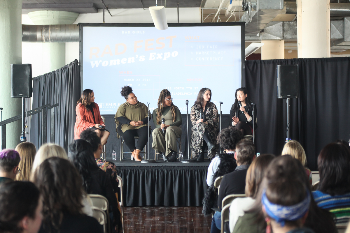 Brand Matters: Moderator Melissa Alam, Founder of Femme & Fortune. Amber Burns, Visit Philly. Sofiya Ballin, Journalist. Karina Kacala, Marketing Manager at Opera Philadelphia. Laurie Satran, Digital Director of STARR Restaurants.  Photo by Briana Sposato/In Between Rivers