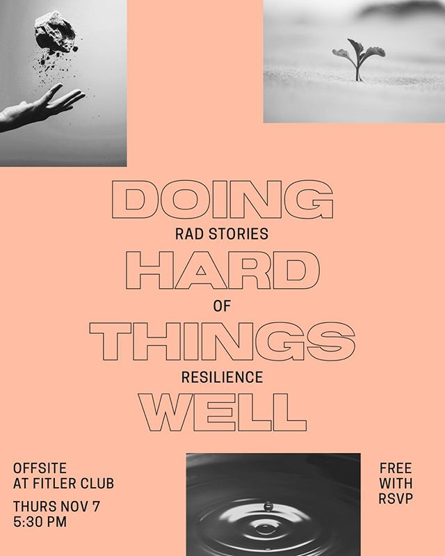 🧠 You don't want to miss our next big event, Doing Hard Things Well: Rad Stories of Resilience on Thursday, November 7th at @offsitefc @fitlerclub! Join our incredible panelists @iamnursemo and @thepositivitycharge for a discussion focused on accessing your well of inner strength, and the importance of resilience during moments of crisis💥. FREE WITH RSVP! Link in bio!