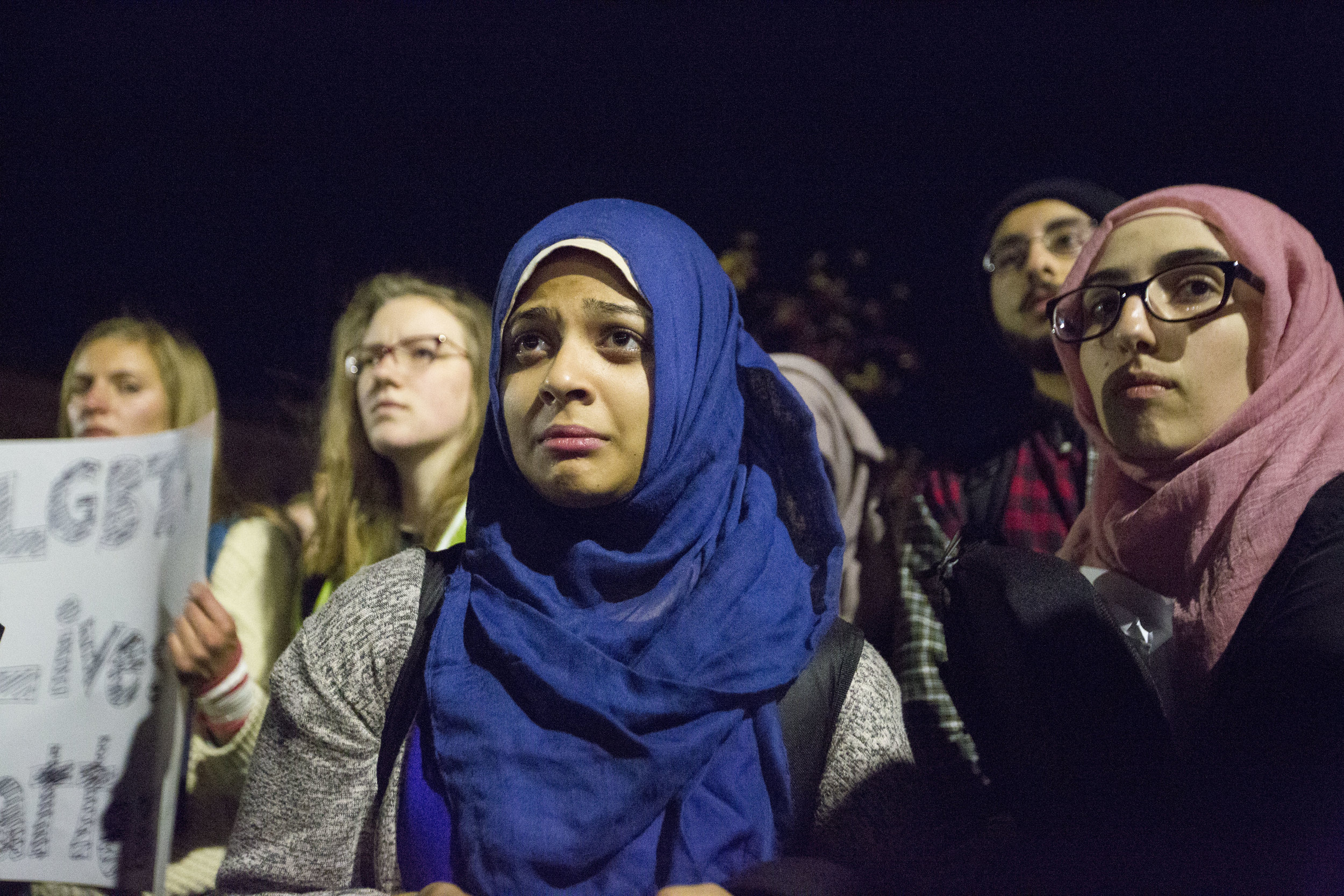 UW-Students get emotional during an anti-Trump rally on Nov 10, 2016 in Madison, WI.