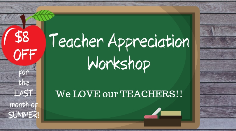 """Use code """"TEACH8"""" at checkout to receive discount. - Please note: Teachers please show ID at the workshop."""
