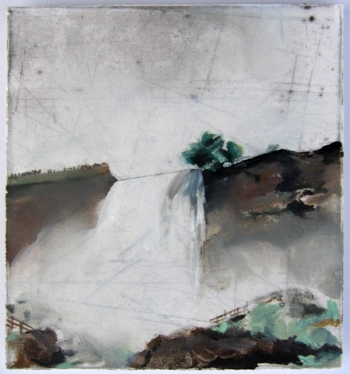 Sonya Berg Menges, Bridal Falls, oil, graphite, etching on paper, 5 x 4.5 in., 2008.jpg