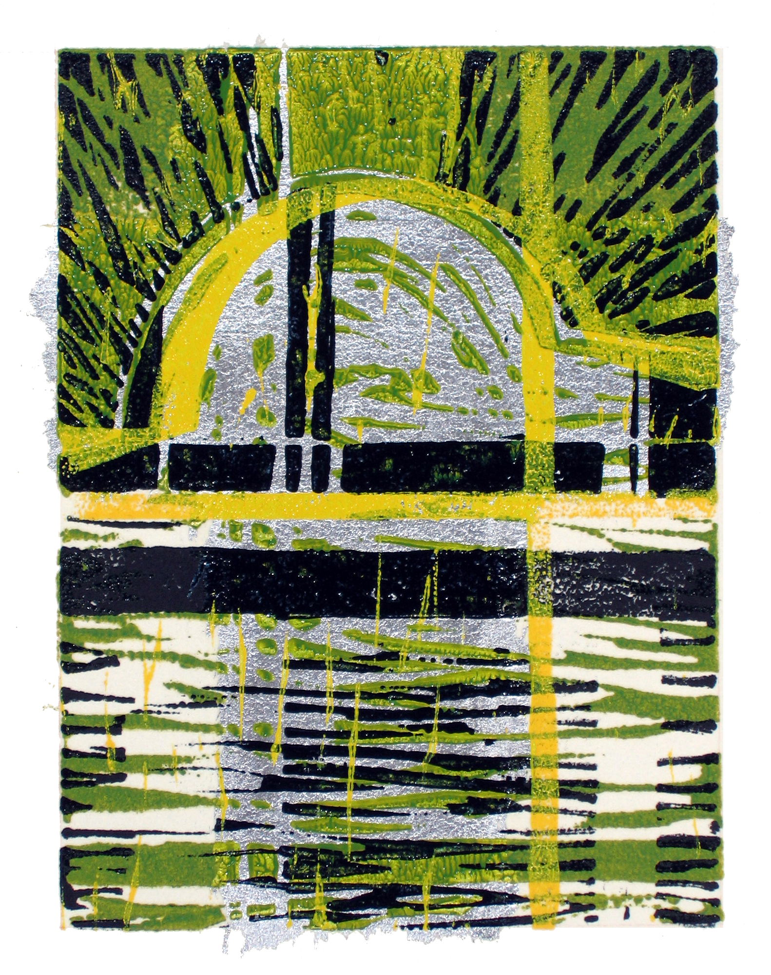 Sonya Berg Menges, Terce (the Crisp Hour), linocut, silver leaf, pastel on paper, 9 x 6.5 in., 2005.png