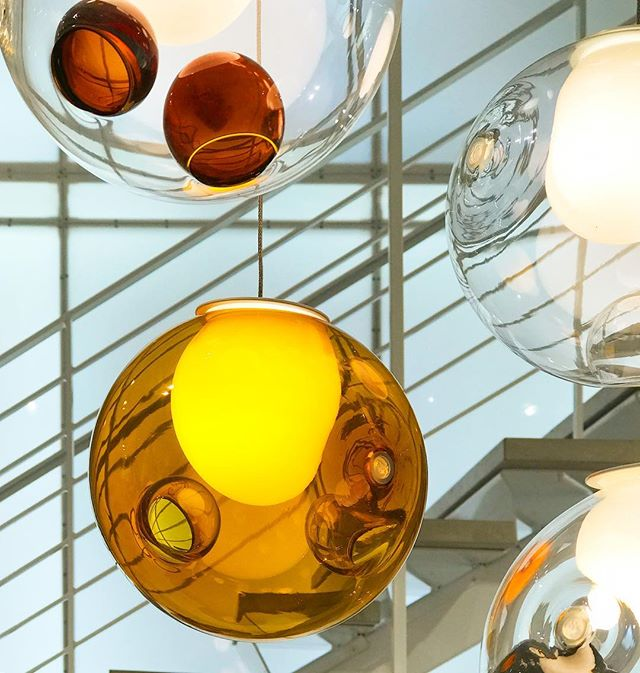 Beautiful hues of amber in blown glass glow in the showroom courtesy of Bocci. . . . . #bocci #lightingdesign #homedesign #glass #chandelier #canadiandesign