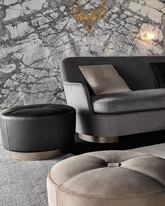 Is it possible to have too many poufs? Too much leather? Too much marble? We think not. . . .  #toomuch #pouf #marble #leather #minotti #italiandesign #luxury #home #designlife