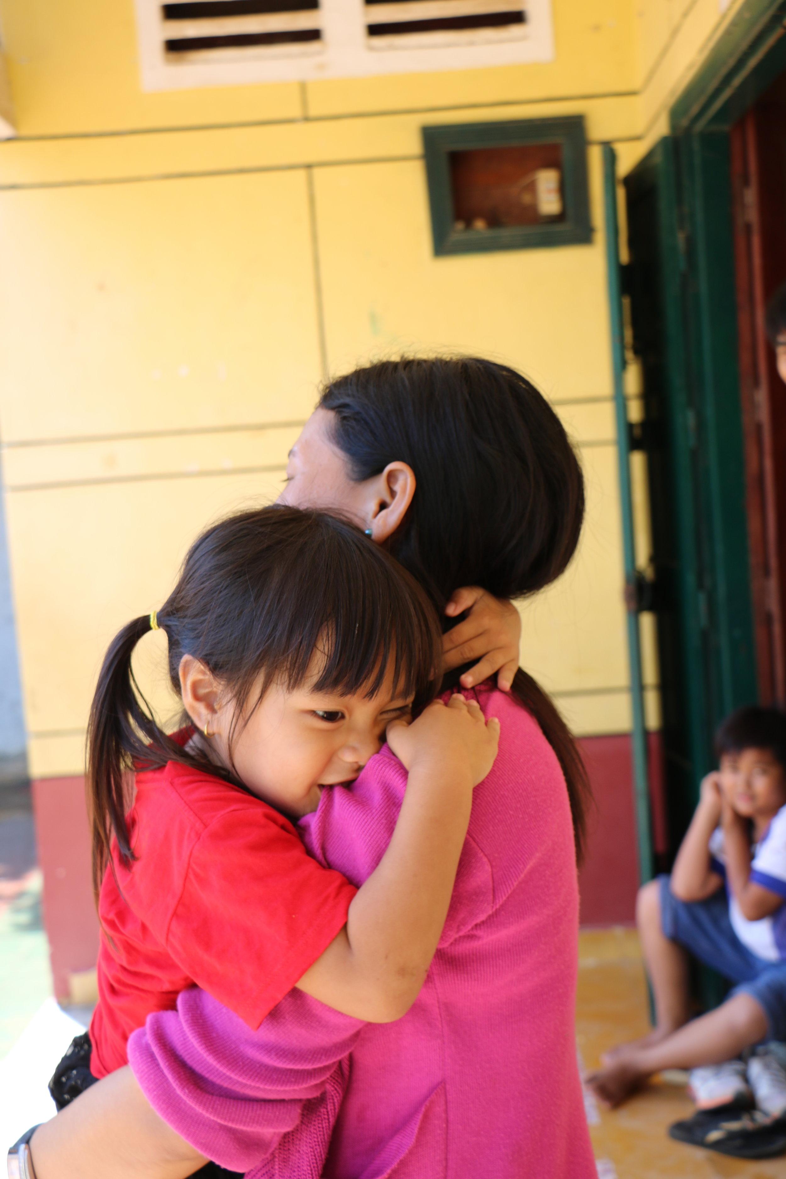 Teacher Sophea with her daughter, Sophavan.