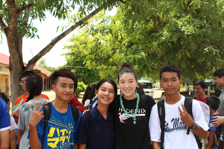 Lauren with some of her students in the summer of 2018