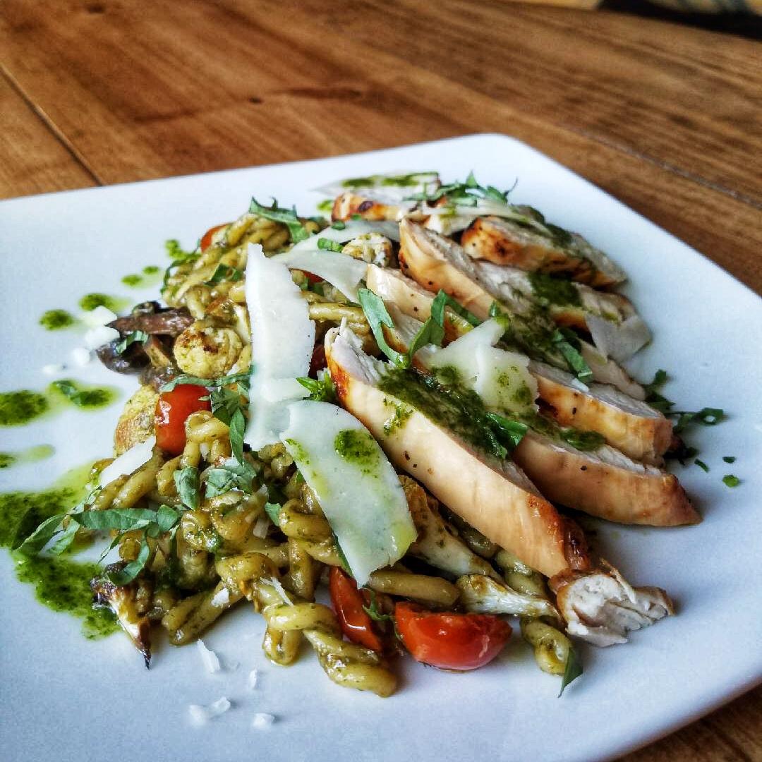 Grilled Chicken Gemelli Pesto