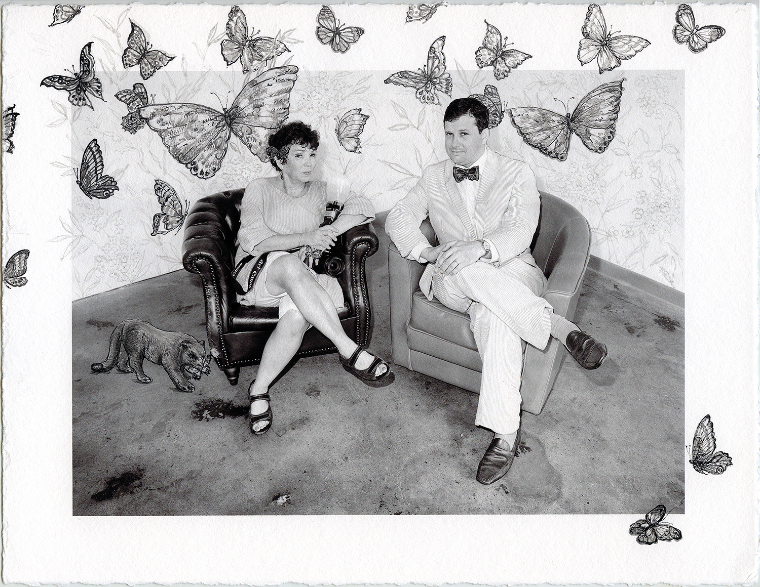 """Bushwick Chronicle – Meryl Meisler and James Panero with Butterflies"" Illustrated Photography © Meryl Meisler 2016"