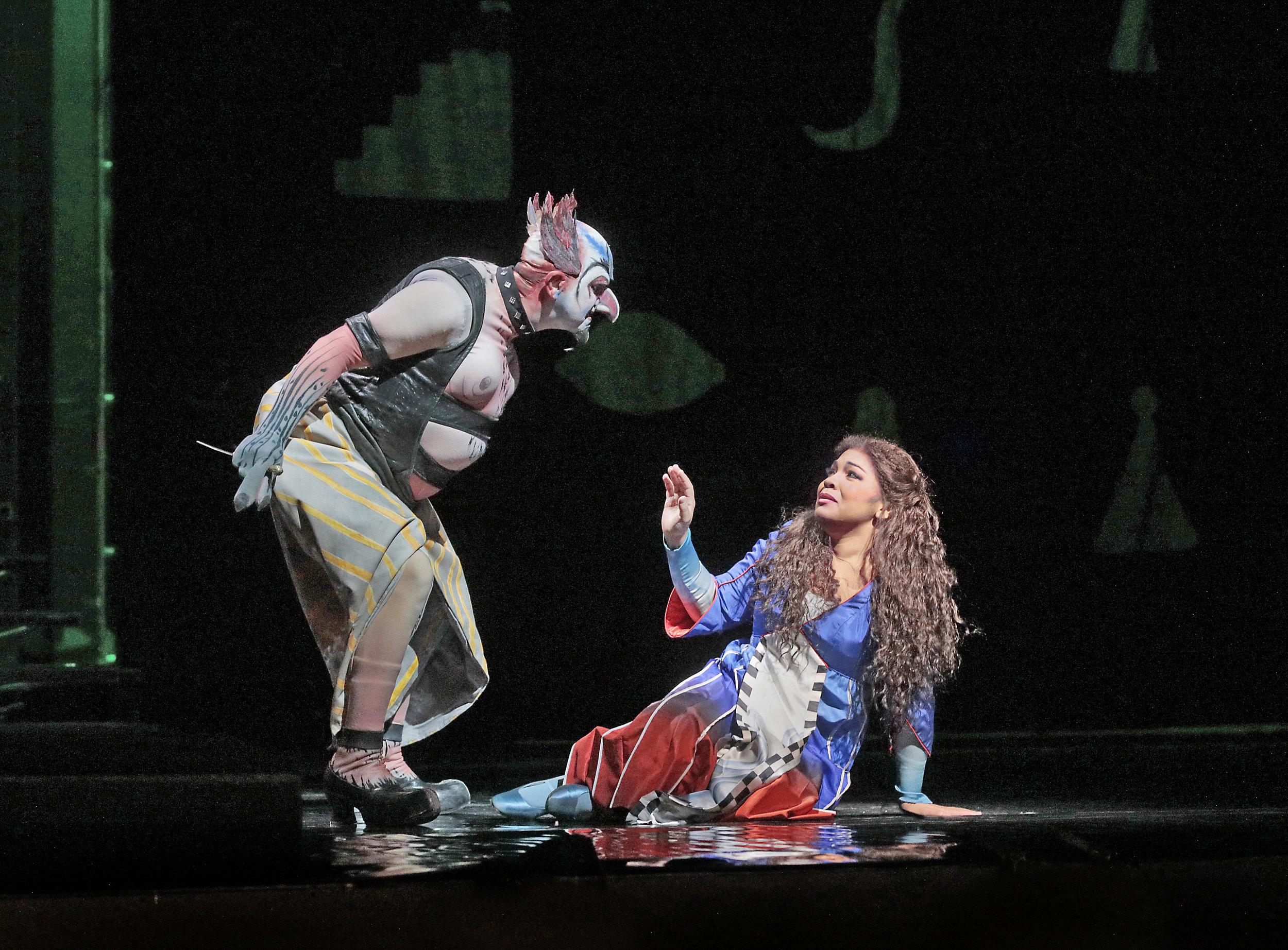 "Robert Brubaker as Monostatos and Janai Brugger as Pamina in Mozart's ""The Magic Flute.""  Photo: Ken Howard/Metropolitan Opera"