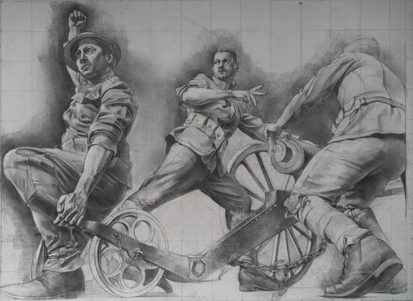 Concept for Wheels of Humanity , a sculpture by Sabin Howard to be displayed at the National World War I Memorial in Washington, D.C