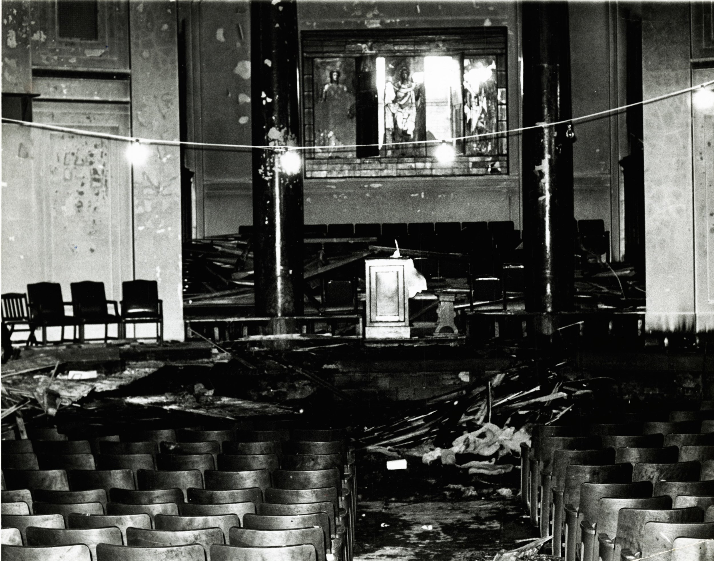 The auditorium of Gould Memorial Library in 1969, after being firebombed during student protests. Photo:New York University Archives