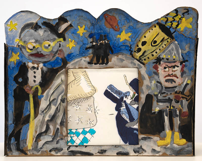 Red Grooms , Shoot the Moon,  1961 ,  Colored inks, paper movie with movie scroll ,  Marlborough Contemporary.