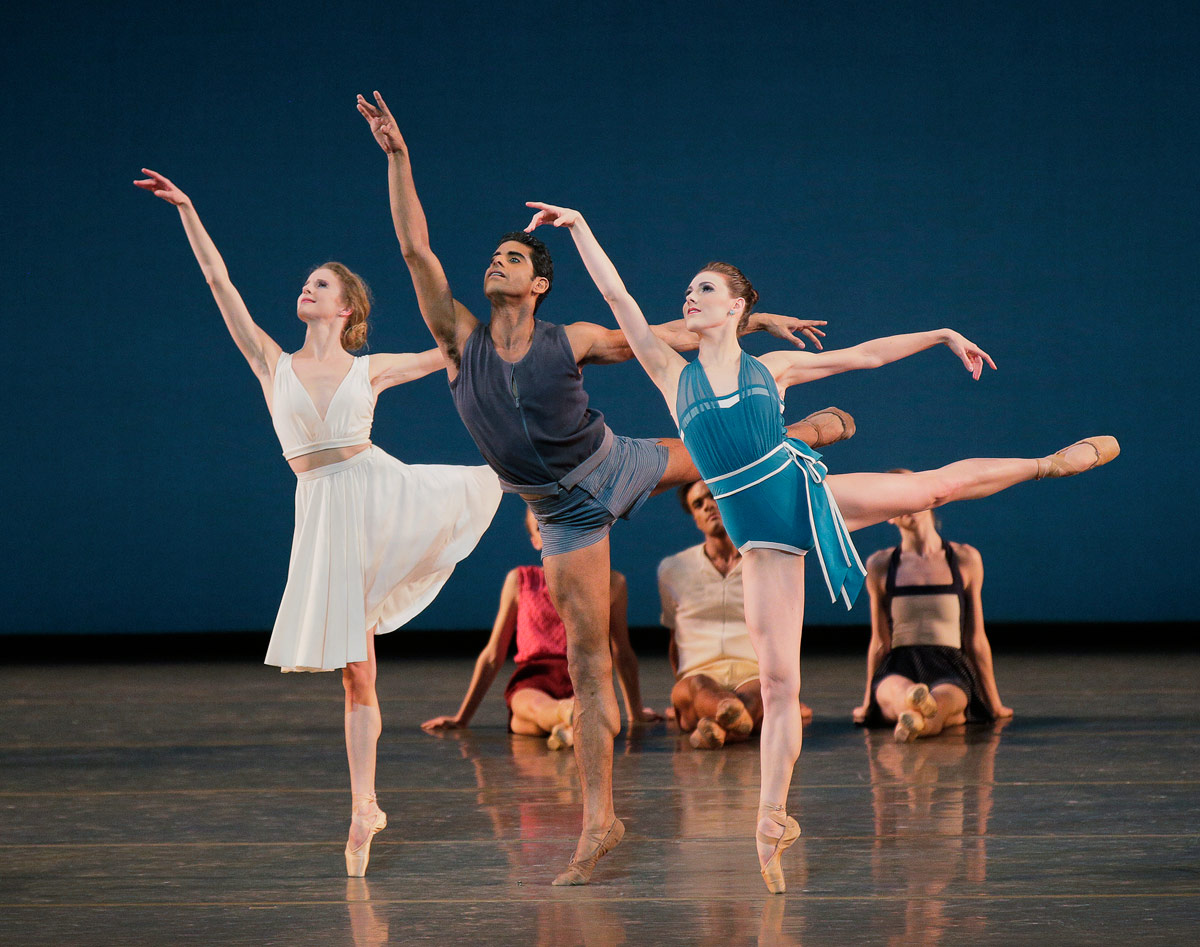 Sterling Hyltin, Amar Ramasar, and Tiler Peck in Justin Peck's  Paz de la Jolla .