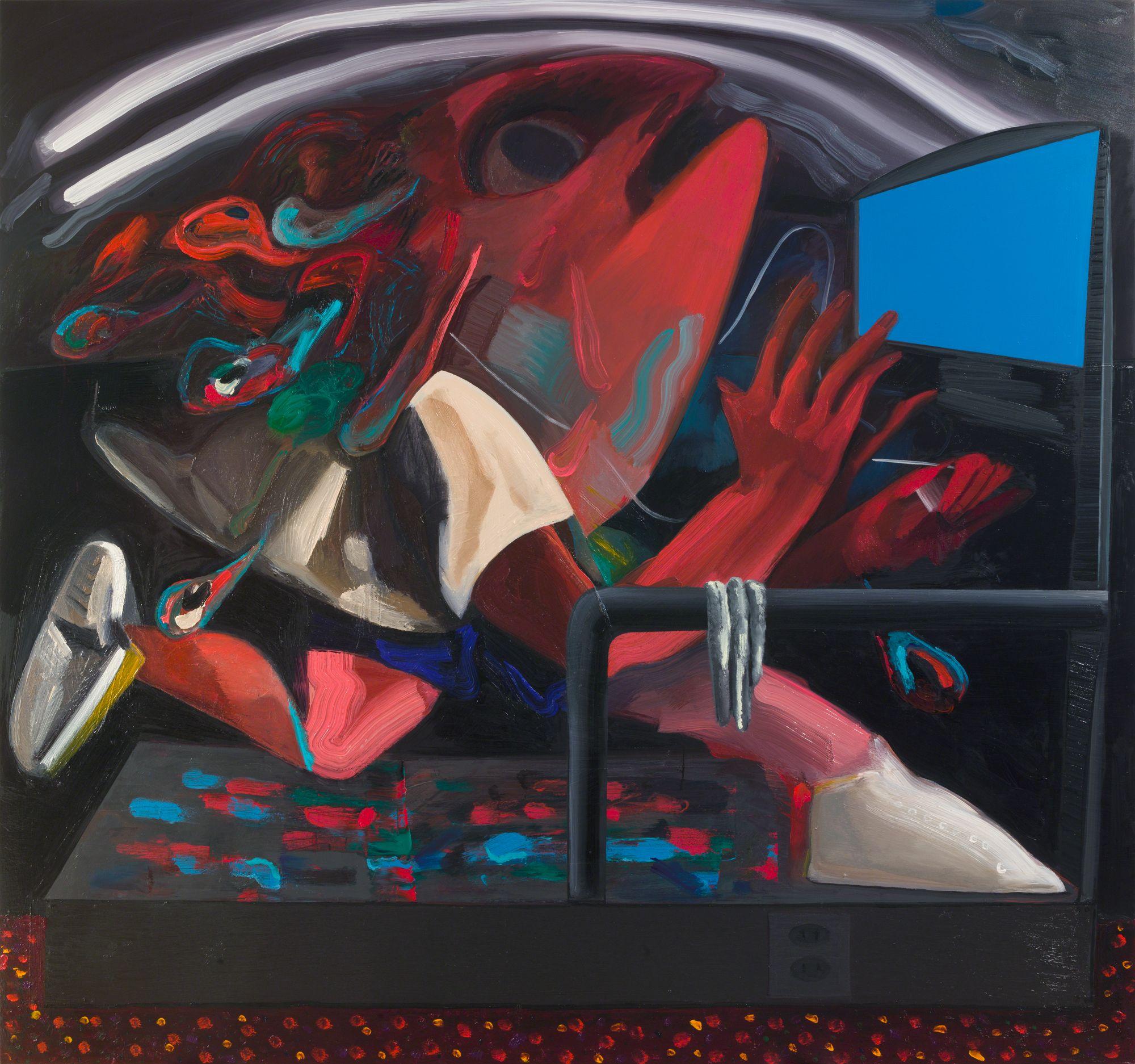 Dana Schutz , Treadmill,  2018 ,  Oil on canvas ,  Petzel Gallery.