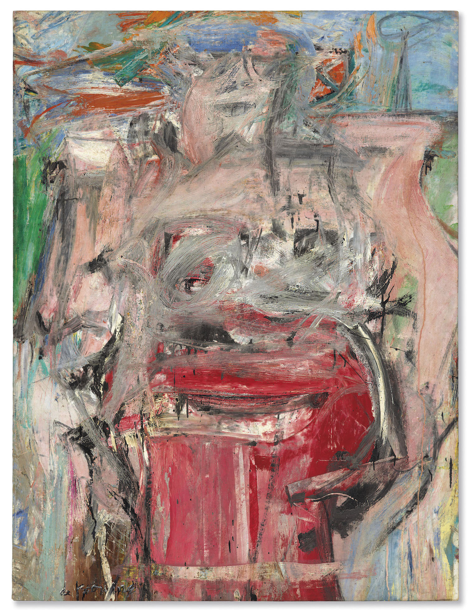 Willem de Kooning , Woman as Landscape,  1952–53 ,  Oil on canvas ,  Private collection ,  Courtesy Mnuchin Gallery ,  New York. Artwork © 2019 The Willem de Kooning Foundation / Artists Rights Society (ARS) ,  New York .