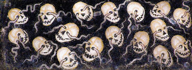 """A close-up of """"the Envious,""""  The Last Judgment ,  ca.  twelfth century, Gold and glass mosaic."""