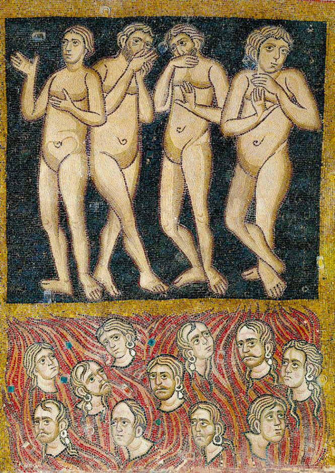"""A close-up of """"the Gluttonous and Avaricious,""""  The Last Judgment ,  ca.  twelfth century, Gold and glass mosaic."""