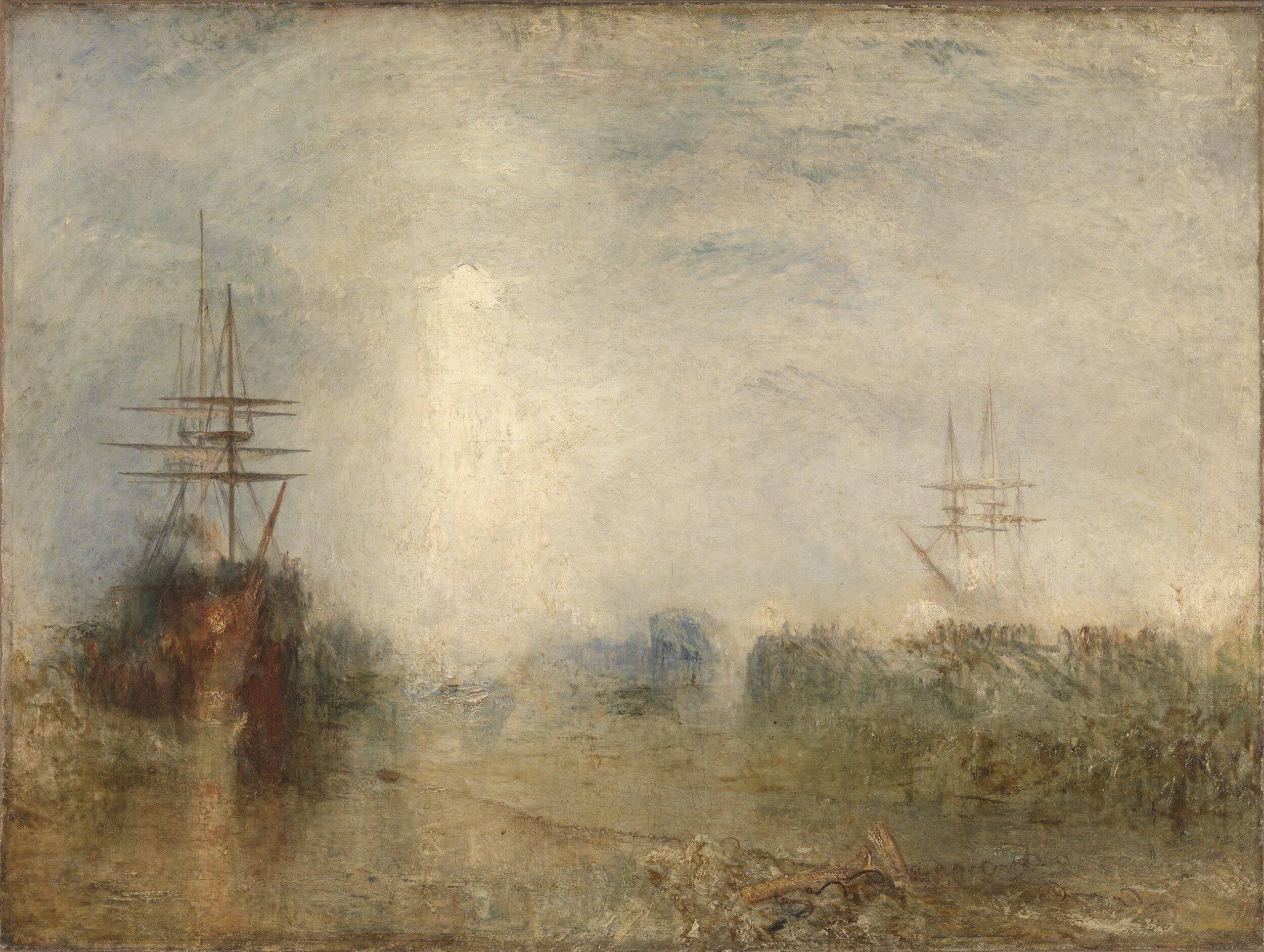 J. M. W. Turner,  Whalers (Boiling Blubber) Entangled in Flaw Ice, Endeavouring to Extricate Themselves , 1846, Oil on canvas, Tate.