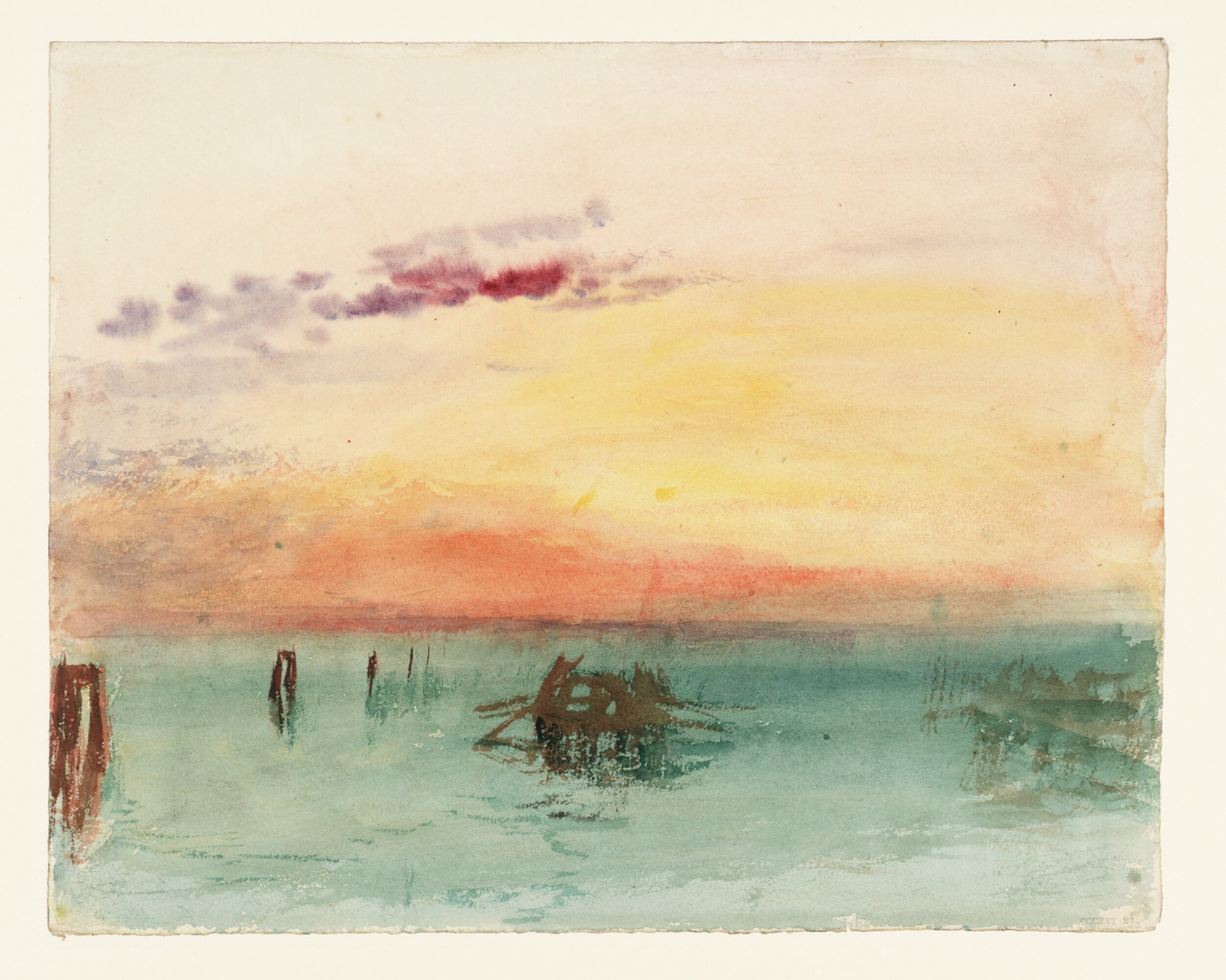 J. M. W. Turner,  Venice: Looking across the Lagoon at Sunset , 1840, Watercolor on paper, Tate.
