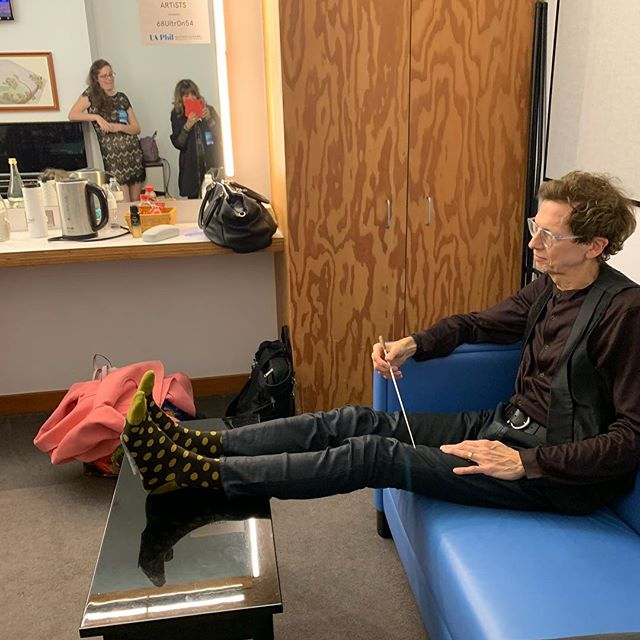 David Campbell relaxing in his Disney Hall dressing room before the concert showing off his new #threadjarsocks #concerts #waltdisneyconcerthall #ironandwine