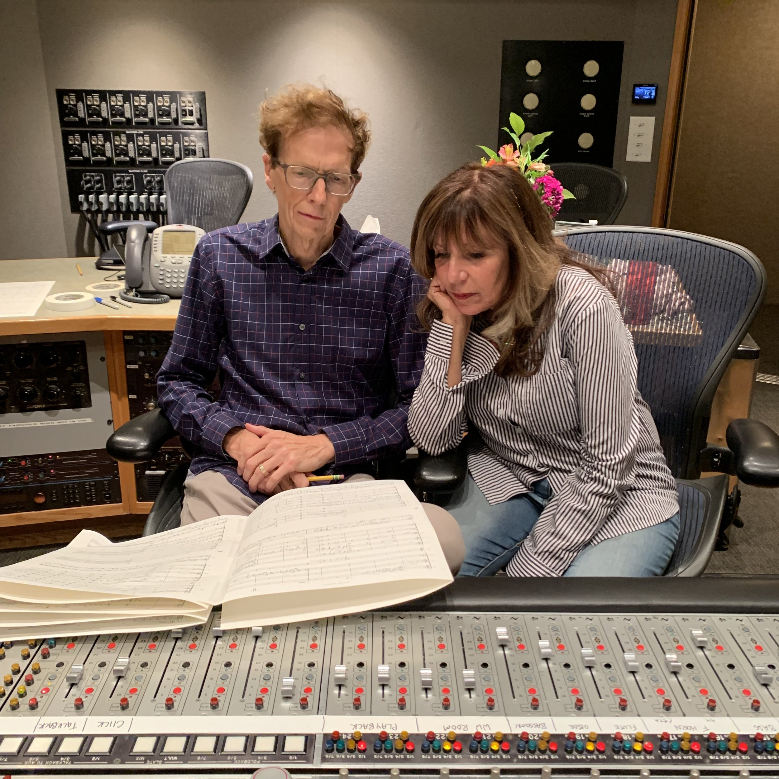 David & Pauline listening back to a take