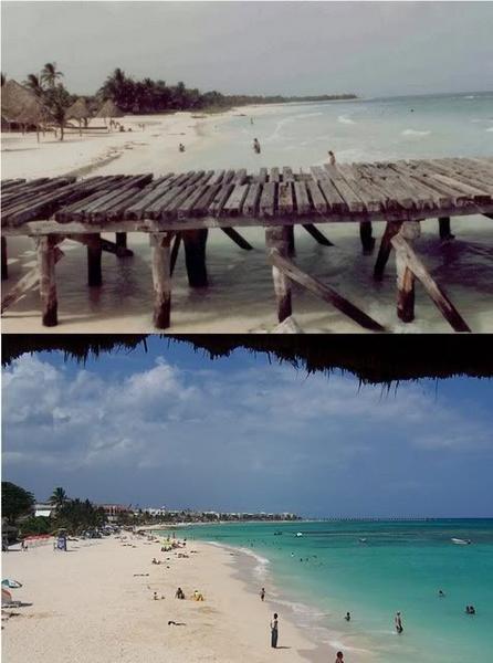 Playa del Carmen 1983 & 2007 by Kathy Munoz
