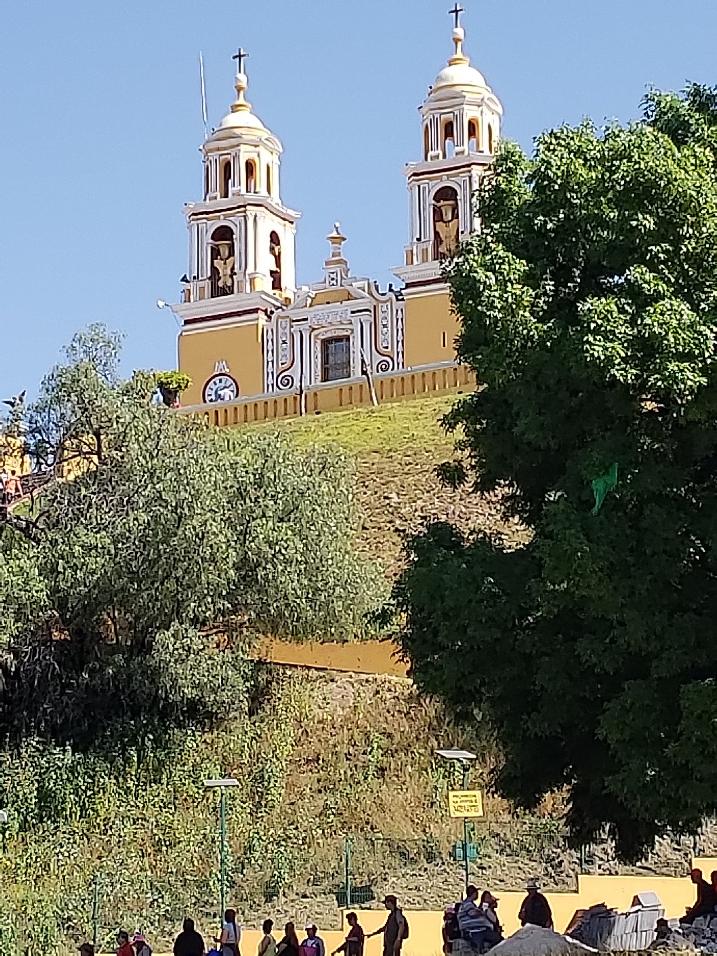 Spanish church built on top of the great pyramid in Cholulu