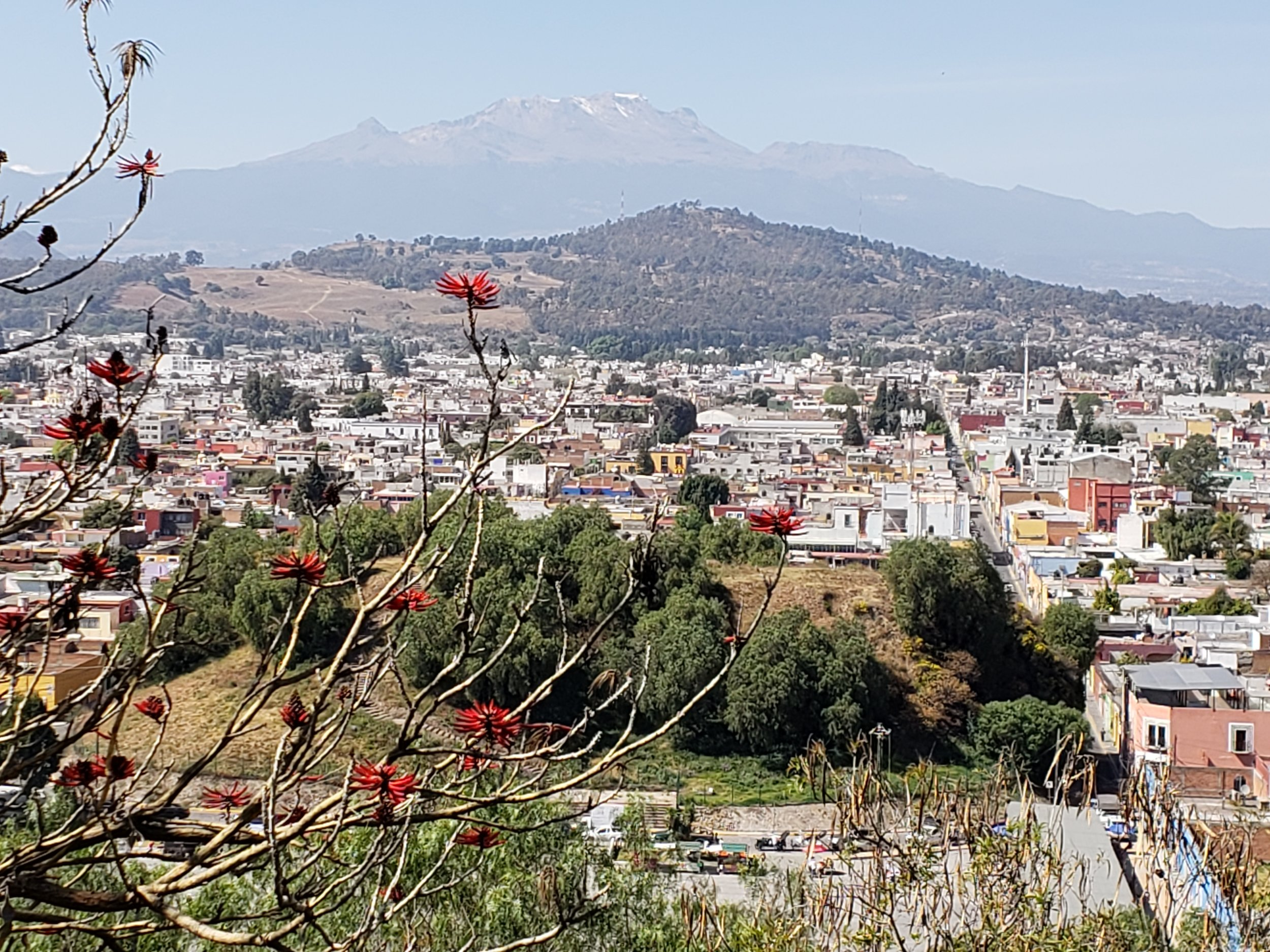 View of volcanos that separate Cholulu from Mexico City