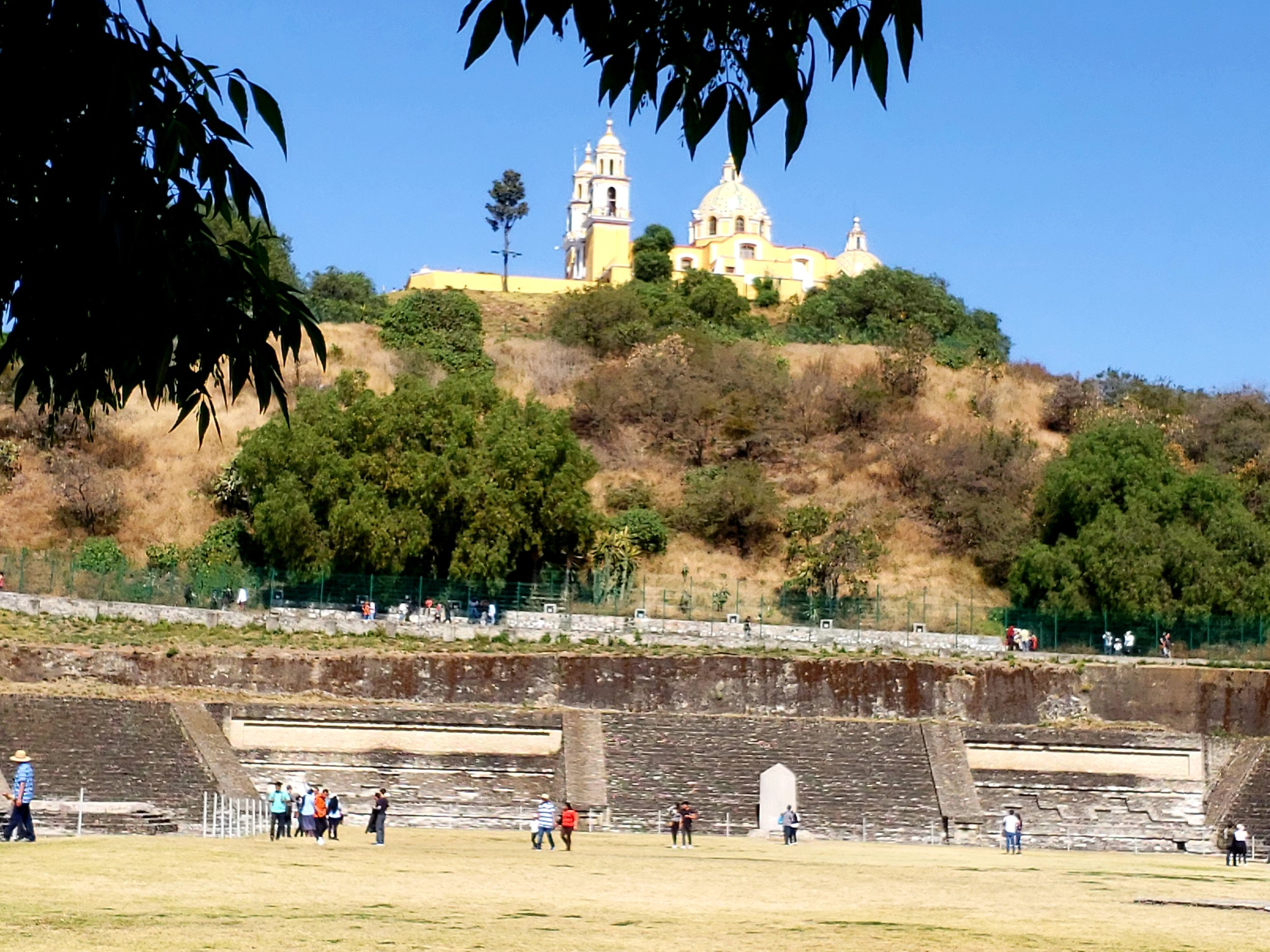 Church built on the top of the pyramid in Cholula