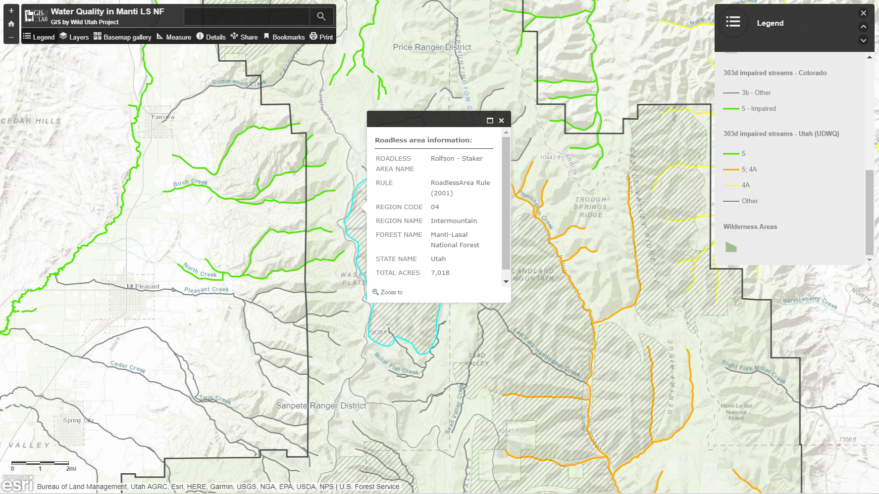 Interactive mapping of water quality in the Manti-La Sal National Forest -