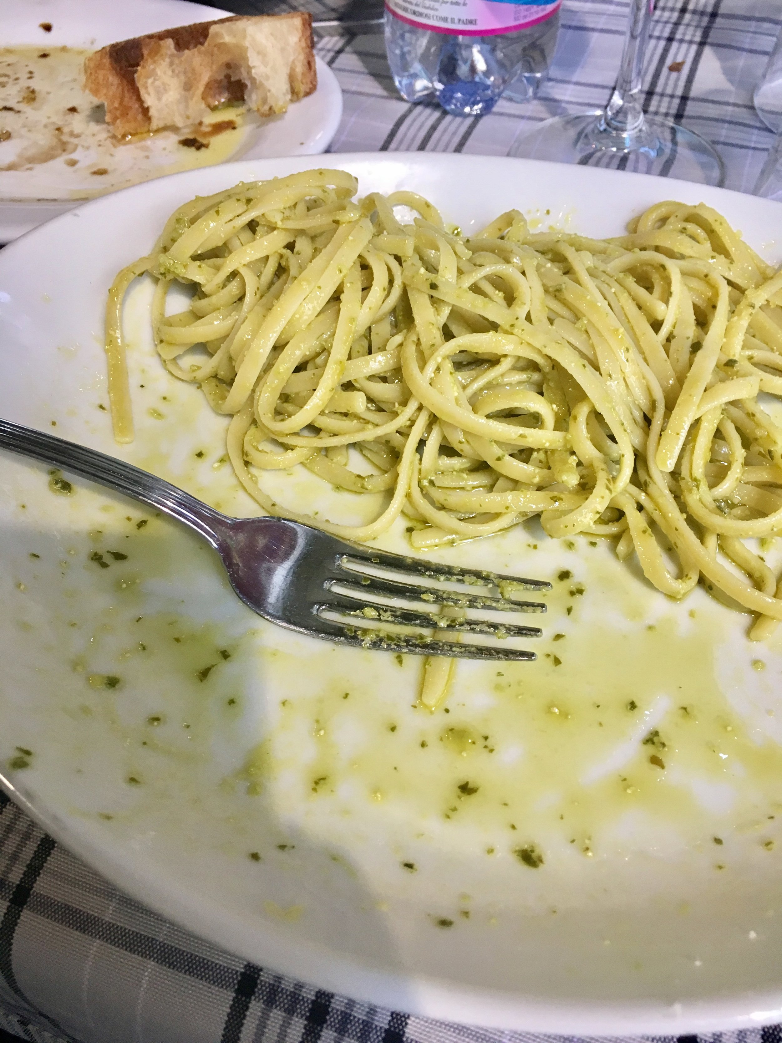 The best Pesto I have ever had! I wish I could remember the name of the restaurant. What is your favorite pasta dish? P.S I was upset that we couldn't  do takeaway (leftovers)!