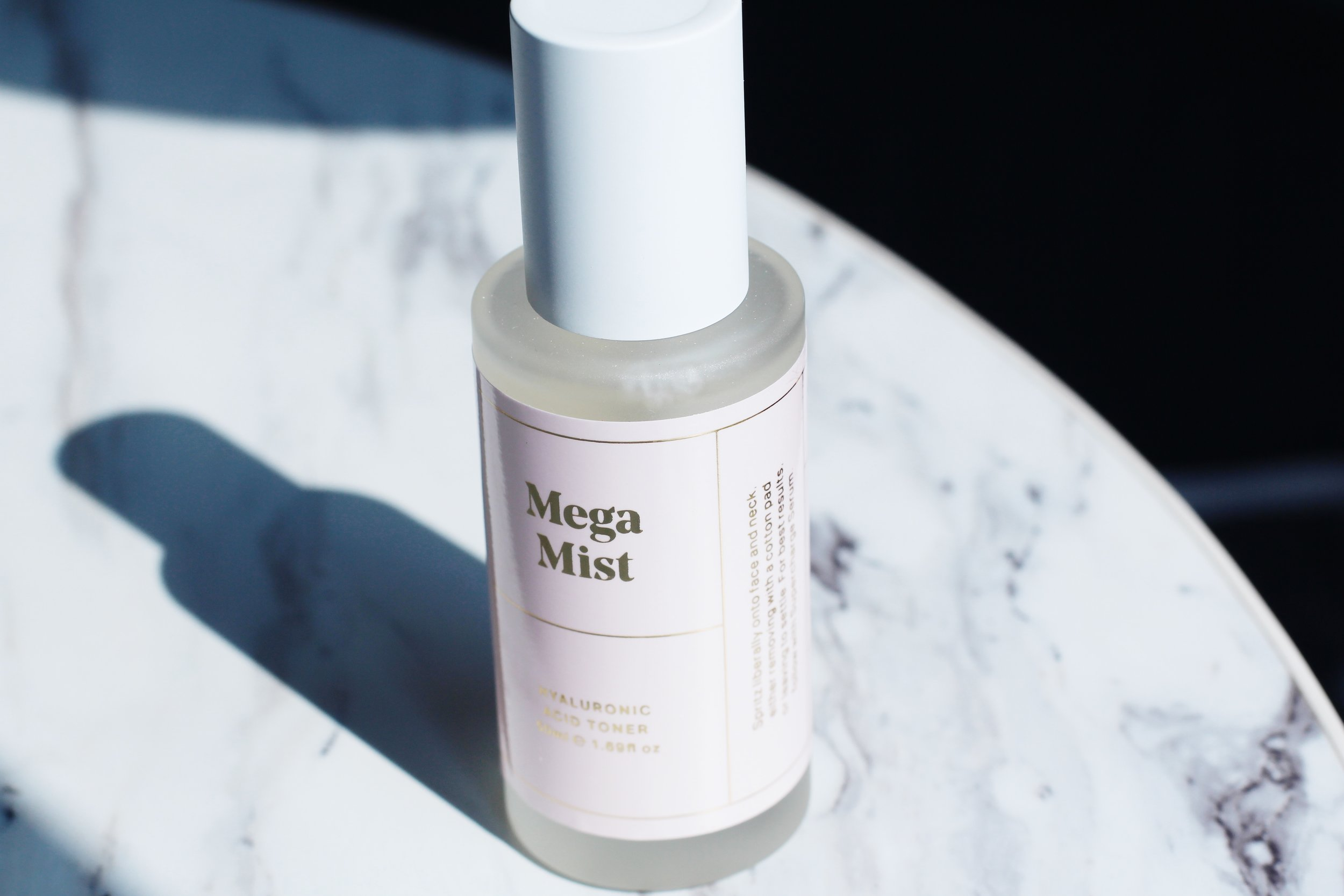 """MEGA MIST-HYALURONIC ACID TONER  """"Rose, orange blossom and lemon balm waters refreshes, hydrates and nourishes without feeling heavy, even on oily or combination skin types.Mega Mist truly quenches thirsty skin and can be used as a traditional toner after cleansing or facial mist to perk up dry skin at any point throughout the day."""""""