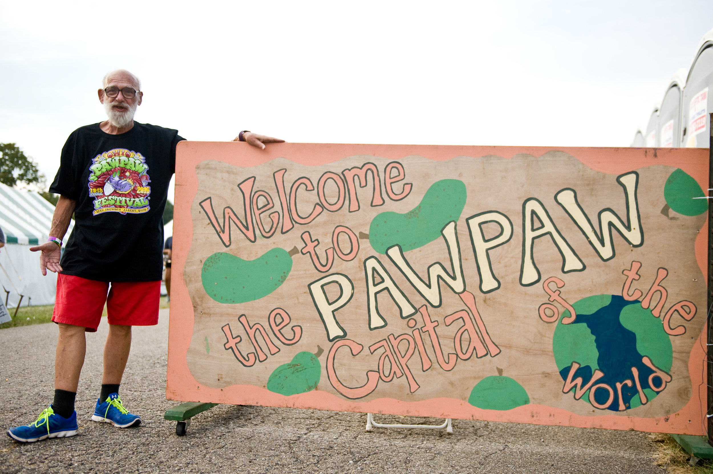 """The Pawpaw Capital of the world! This fella was so excited about the fest, he asked to be a part of the """"sign photo"""". Love it! Photo by  Michelle Waters"""