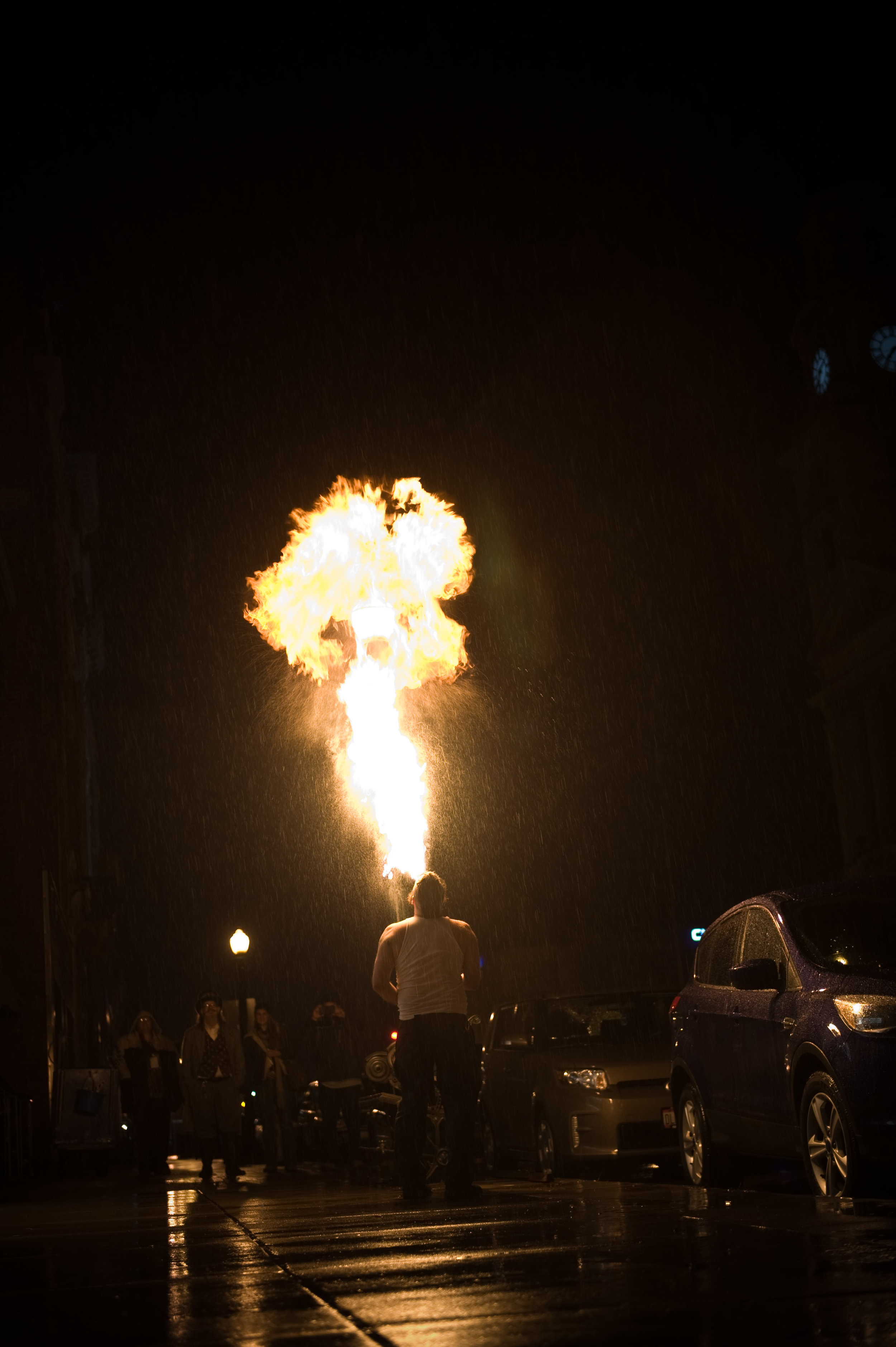 """The Burning Dawn  will be adding the """"Fire"""" to the  Fire and Ice First Friday  in Marietta, Ohio, at the  Armory Square . The Burning Dawn incorporates live drumming into their fire breathing for a really cool, exciting live show. Photo by  Michelle Waters ."""