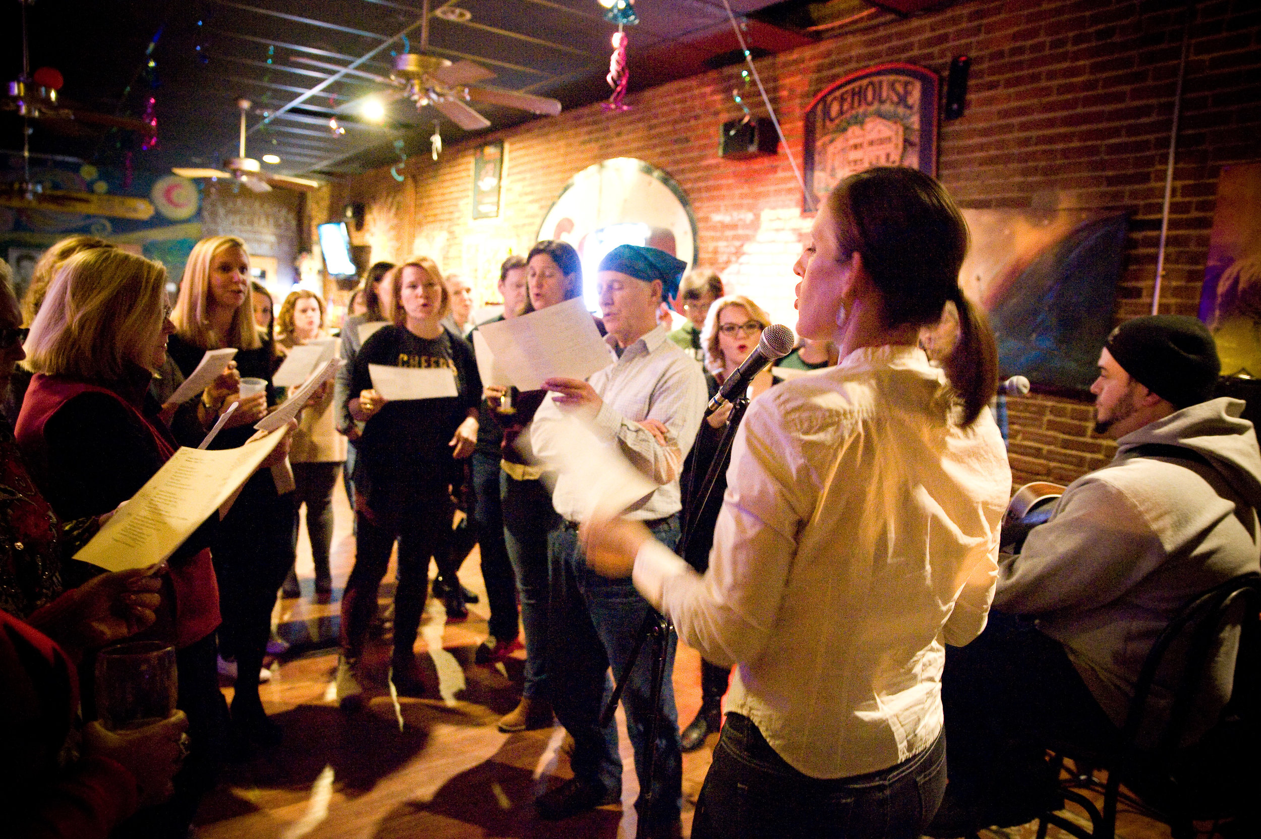 Choir Now! WV  meets in the upstairs portion of  Sam's Uptown Cafe , once a month. All attendees learn part of the song of the night, and sing as a group by the end of the night. Photo by  Michelle Waters.