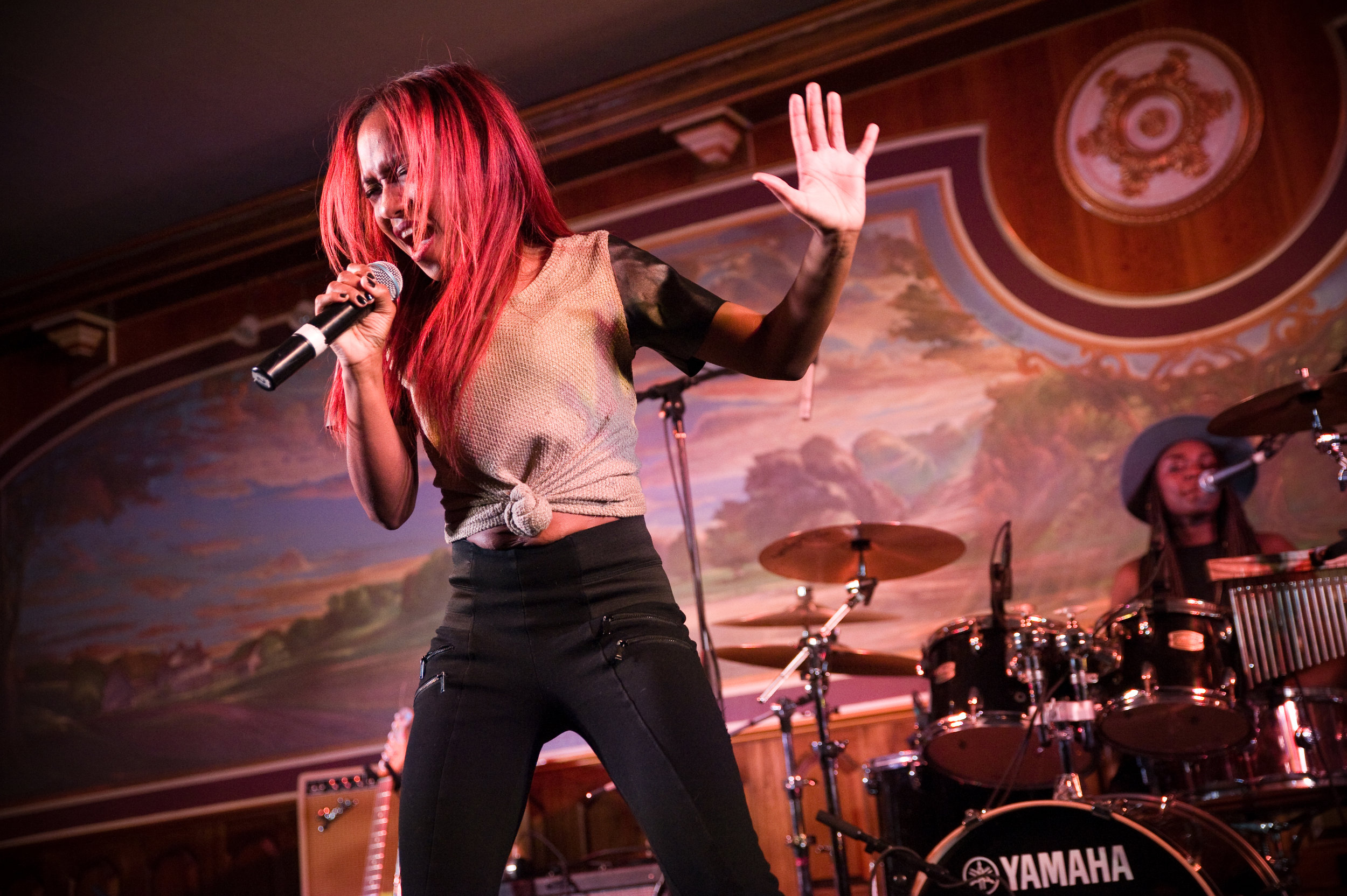 Southern Avenue  from Memphis filled the  Lafayette Hotel 's ballroom with powerhouse vocals and tuned-in emotions. Everyone was dancing. Photo by  Michelle Waters.