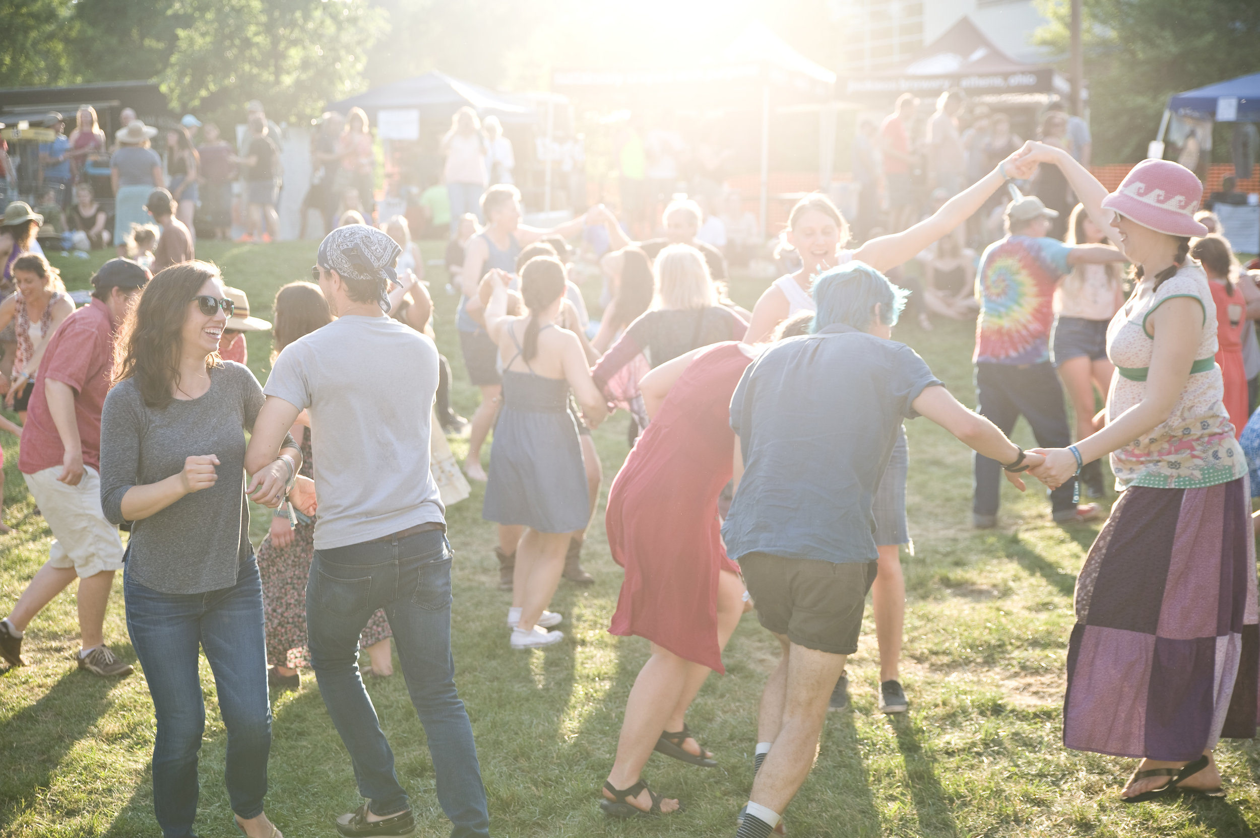 Crowd participation at the Boxcar Stage's square dance.